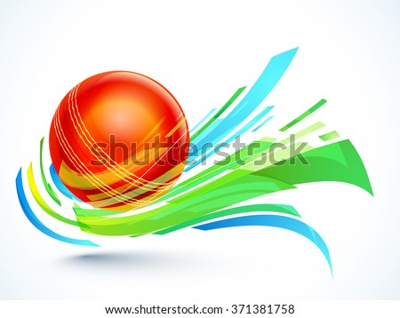 Glossy red Ball with abstract design on grey background for Cricket Sports concept. - stock vector