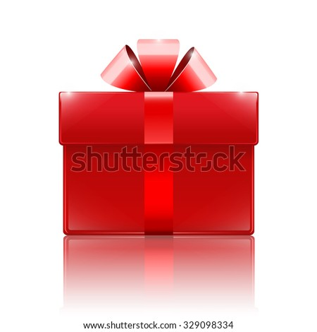 glossy red box with a bow isolated on a white background, vector