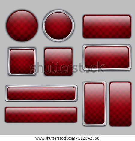 Glossy Red checkered web buttons - stock vector