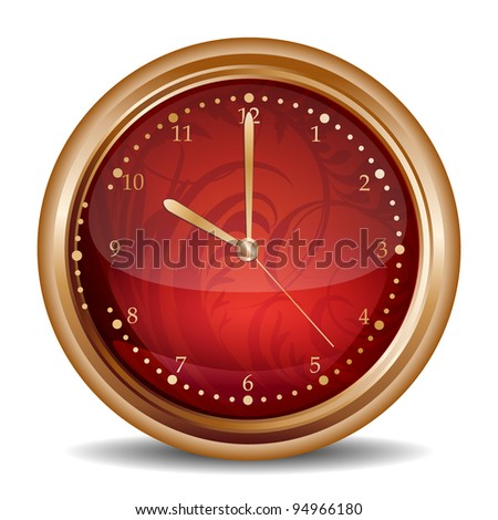 Glossy red clock icon - stock vector
