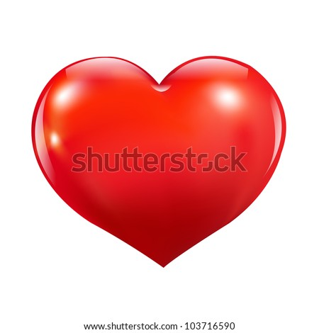 Glossy Red Heart, Isolated On White Background, Vector Illustration