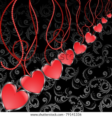 glossy red hearts hanging diagonal on a black background - stock vector