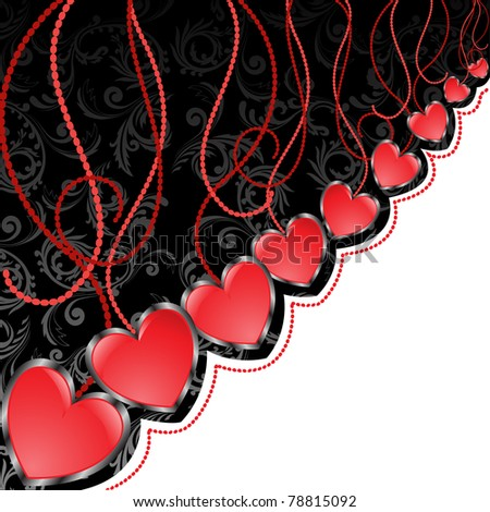 glossy red hearts hanging diagonal on black and white background - stock vector