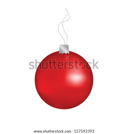 Glossy red xmas bauble hanging on a wire