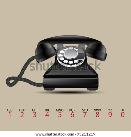 Glossy retro phone, vector illustration, eps10