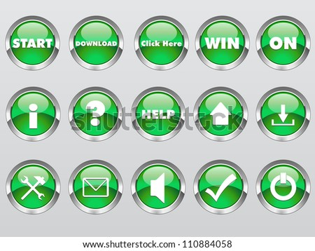 Glossy Round Button - stock vector