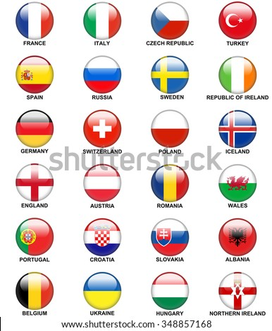 glossy round buttons or badges concerning flags of  European countries participating to the final tournament of Euro 2016 football championship isolated - stock vector