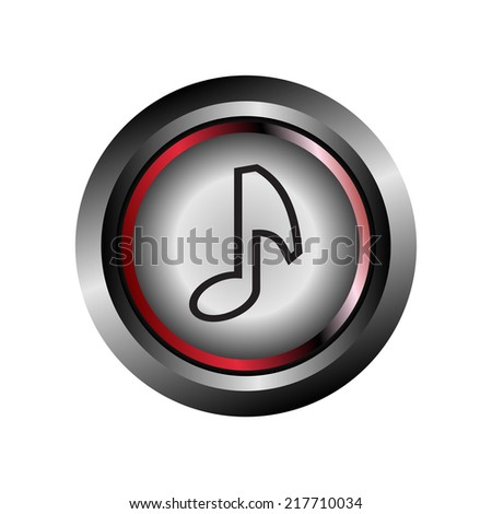 Glossy round music icon button vector - stock vector