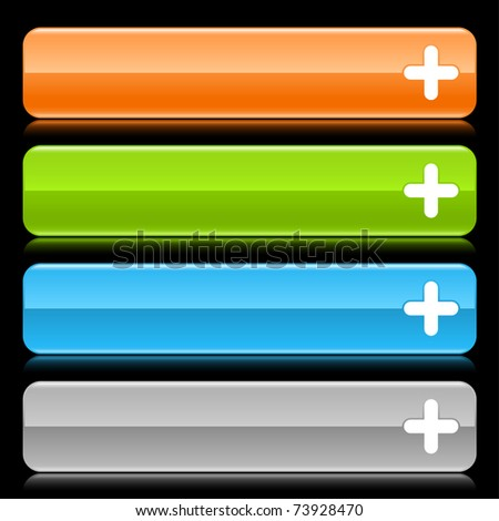 Glossy rounded rectangle web bar with plus sign and color reflection on black background - stock vector