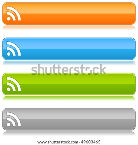 Glossy satin color buttons with RSS symbol on a white background - stock vector