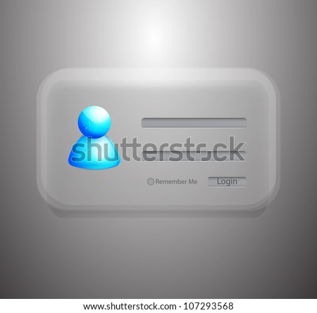 Glossy semi-transparent vector member login - stock vector