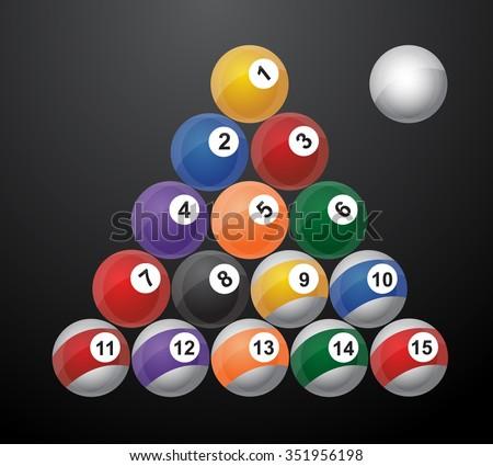 glossy set of pool balls. Vector illustration  / 8 pool ball / snooker ball / Billiard snooker / with reflections - stock vector