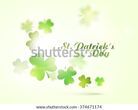 Glossy shamrock leaves decorated greeting card design for Happy St. Patrick's Day celebration. - stock vector