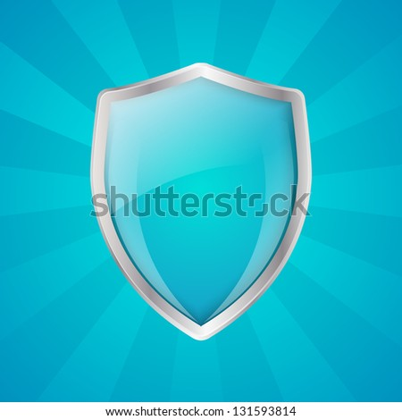 Glossy shield on blue rays background - stock vector