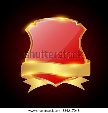 glossy  shield symbol vector illustration - stock vector