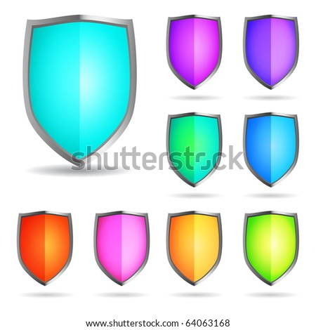 Glossy shields - stock vector