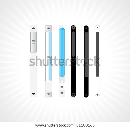 Glossy shiny abstract scroll bars with different patterns,vector illustration. - stock vector