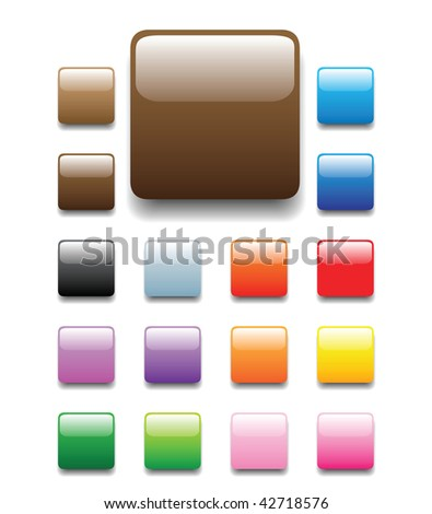 glossy, shiny candy looking square tabs for website, internet, design and other usage. No transparency is used. Please check round and elongated tube sets which are available in my profile. - stock vector