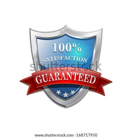Glossy Shiny 100 % satisfaction Shield Icon - stock vector