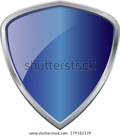 Glossy Shiny Shield Blue with Silver Border Vector Drawing eps10 - stock vector