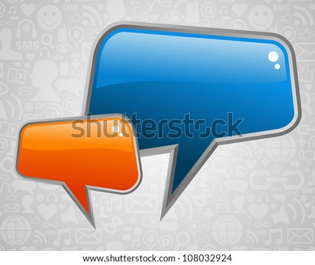 Glossy social media speech bubbles with icons background. Vector file layered for easy manipulation and custom coloring. - stock vector