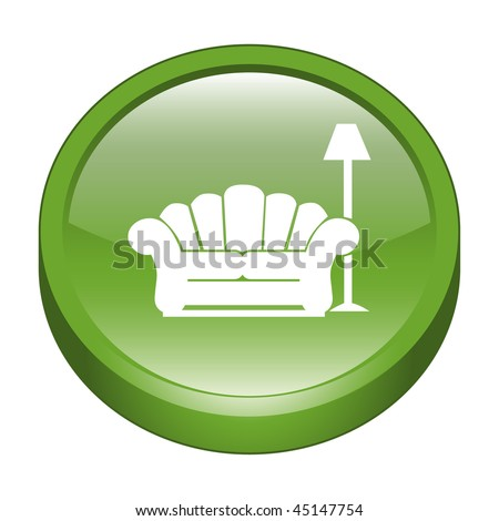 Glossy Sofa & Lamp Sign 3D Icon - stock vector