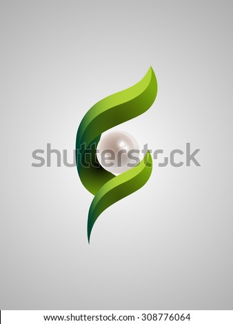 Glossy sphere surrounded by leaves vector illustration. Logo design - stock vector