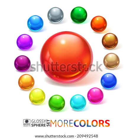 Glossy spheres, buttons, set - stock vector