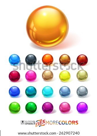 Glossy spheres set - stock vector