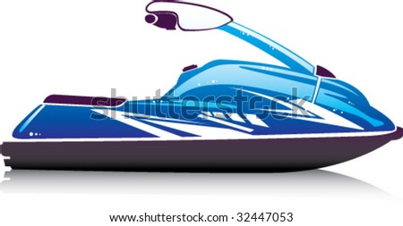 Glossy Sporty Small Jet Ski - stock vector