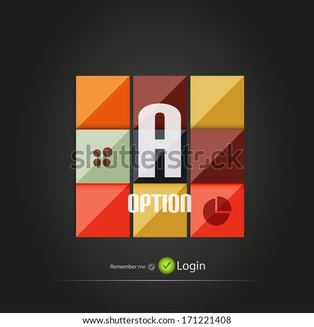 Glossy square vector option buttons for business background | numbered banners | business lines | graphic website layout vector - stock vector