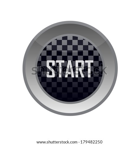 glossy start button - stock vector