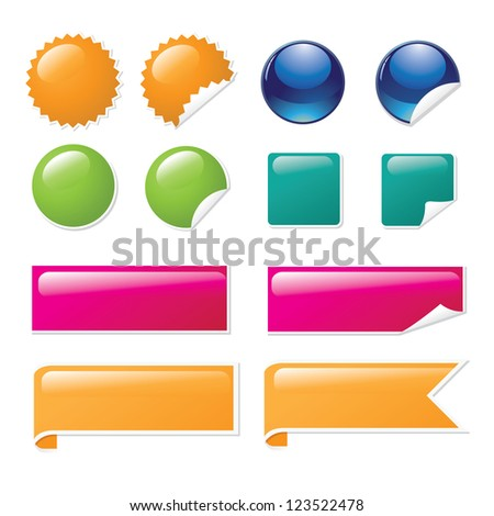 Glossy sticker and banner set isolated on white EPS 8 vector, no open shapes or paths, grouped for easy editing. - stock vector