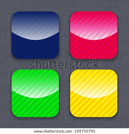 Glossy striped colorful app icon templates on linen background. Vector illustration - stock vector