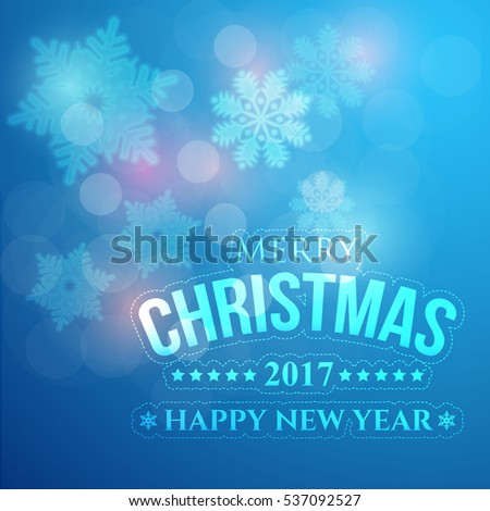Glossy Style Postcard with Happy New Year and Merry Christmas Celebration. Greeting Card Design, Vector Winter Snowflakes Elements in Blue Colors Background. Flyer, Poster, Web Banner Template