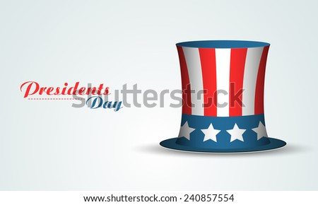 Glossy United State American flag color hat on shiny sky blue background for Presidents Day celebration. - stock vector