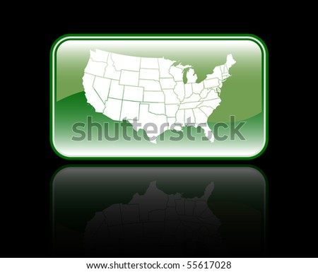 Glossy USA Map Icon Isolated On Black - stock vector