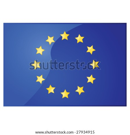 Glossy vector illustration of the flag of the European Union