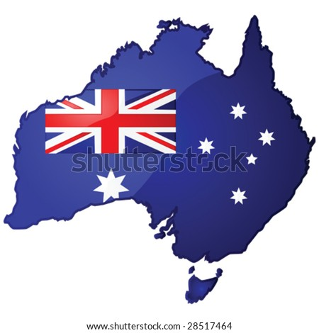 Glossy vector illustration of the map of Australia with the Australian flag inside it