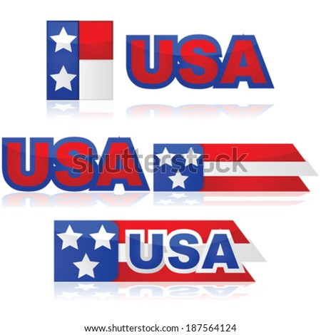 Glossy vector illustration set with different United States badges - stock vector