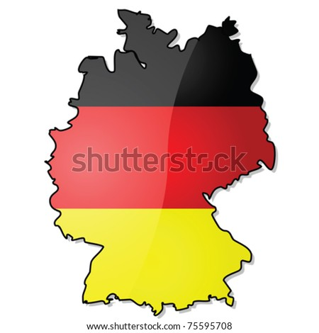 Glossy vector illustration showing the map of Germany with its flag over it. EPS file divided in layers, with flag, shadow and borders in separate layers, making it easy to customize version needed.