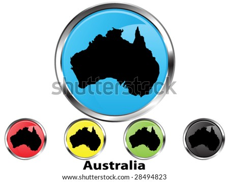 Glossy vector map button of Australia