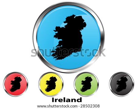 Glossy vector map button of Ireland - stock vector