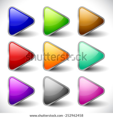 Glossy, vibrant play buttons, music or video player control / navigation buttons for multimedia, playback concepts. Or arrows, arrowheads pointing right for generic use.  - stock vector