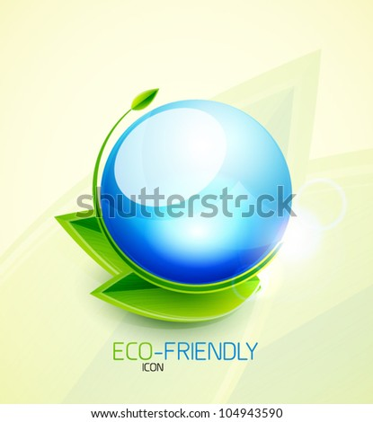 Glossy water bubble nature concept with leaves - stock vector