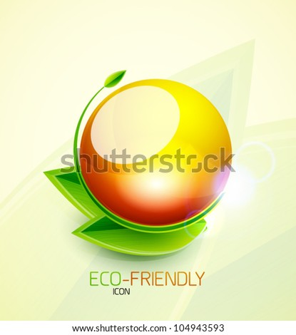 Glossy water bubble nature concept with leaves