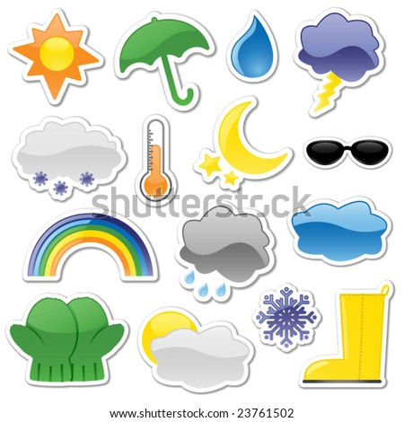 Glossy weather stickers, including rain boot and partly cloudy stickers - stock vector
