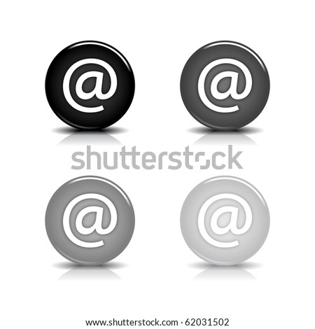 Glossy web 2.0 button with at symbol. Black and gray round shapes with shadow and reflection on white background. 10 eps - stock vector
