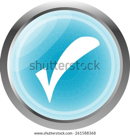 glossy web button with check mark sign. shape icon isolated on white - stock vector
