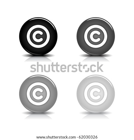 Glossy web 2.0 button with copyright symbol. Black and gray round shapes with shadow and reflection on white background. 10eps - stock vector